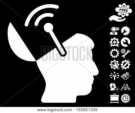Open Brain Radio Interface pictograph with bonus tools pictograms. Vector illustration style is flat iconic white symbols on black background.