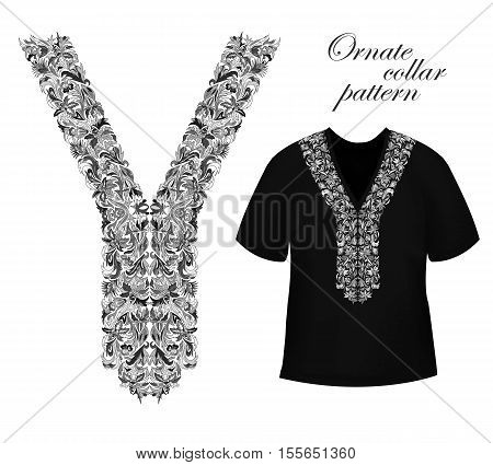 Design for collar shirts, blouses. Black and white colors ethnic flowers neck. Floral decorative border on black T-shirts mock up. Vector