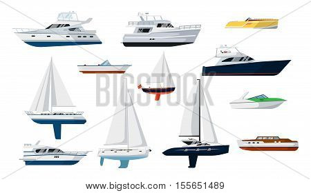 Motor boat and sail boat side view set vector icon. Ship, pleasure boat, speed boat, vessel boat, cruise ship, luxury yacht, power boat, sailfish flat design. Realistic isolated boat. Boat icon. Detailed boat and ship, yacht. Ship, boat, yacht side view.