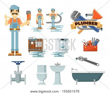 Plumbing repair service isolated on white background. Plumber man in uniform with plumbing tools at work. Toilet, sink, bath, washing machine, water pipes, tap. Plumbing pipes and other plumbing tools. Plumbing service concept. Cartoon plumbing service.