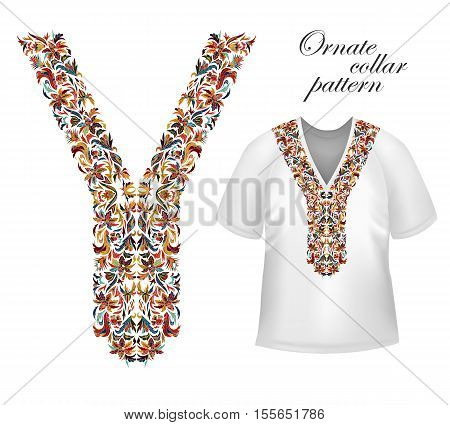 Design for collar shirts, blouses, T-shirt. Bright colors ethnic flowers neck. Floral decorative border. Vector