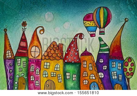 Watercolor illustration of colorful houses