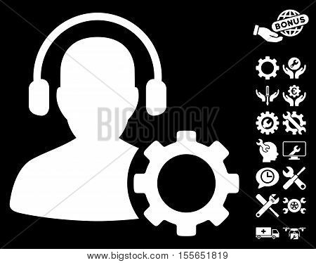 Operator Configuration Gear icon with bonus configuration design elements. Vector illustration style is flat iconic white symbols on black background.