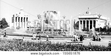 Old black and white photo: Fountain of Friendship of Peoples on VDNKh in Moscow Russia
