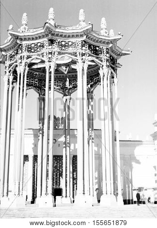 Old black and white photo: Pavilion of Uzbek SSR on VDNKh in Moscow Russia