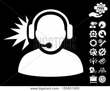 Operator Headphones Signal pictograph with bonus setup tools clip art. Vector illustration style is flat iconic white symbols on black background.