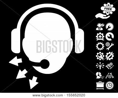 Operator Message pictograph with bonus setup tools pictures. Vector illustration style is flat iconic white symbols on black background.