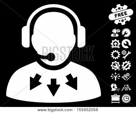 Operator Message icon with bonus setup tools symbols. Vector illustration style is flat iconic white symbols on black background.