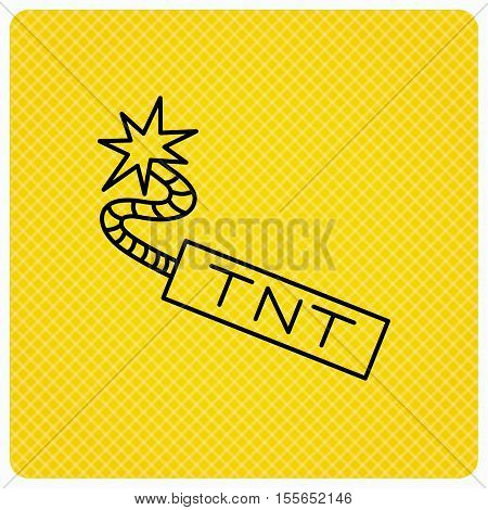 TNT dynamite icon. Bomb explosion sign. Linear icon on orange background. Vector