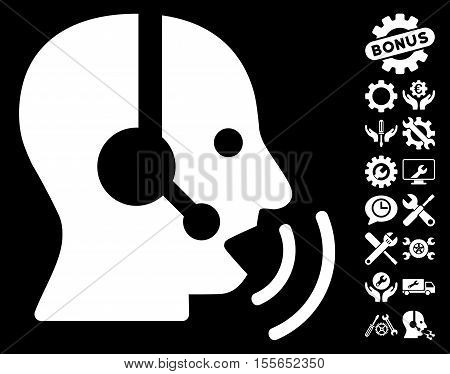 Operator Speech Sound Waves pictograph with bonus configuration pictures. Vector illustration style is flat iconic white symbols on black background.