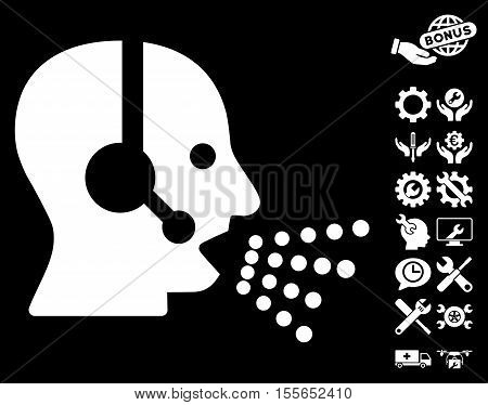 Operator Speech icon with bonus settings icon set. Vector illustration style is flat iconic white symbols on black background.