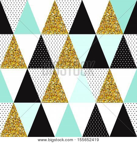 Seamless vector pattern with gold glitter. Beautiful geometric seamless pattern with gold glitter for textile and decoration.