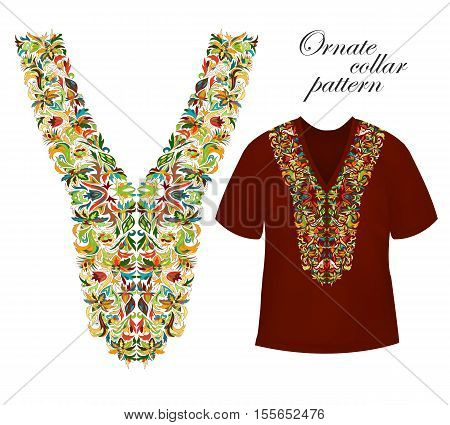 Neckline embroidery. Beautiful fashionable collar embroidered. Stock vector. Bright colors collars pattern on dark red T-shirt mock up.