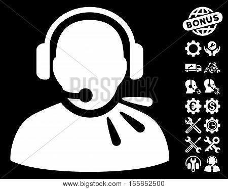 Operator Speech pictograph with bonus setup tools graphic icons. Vector illustration style is flat iconic white symbols on black background.