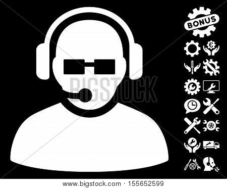 Operator icon with bonus setup tools pictures. Vector illustration style is flat iconic white symbols on black background.
