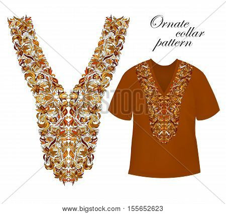Neckline embroidery. Beautiful fashionable collar embroidered. Stock vector. Hot eastrn colors collars pattern on brown T-shirt mock up.