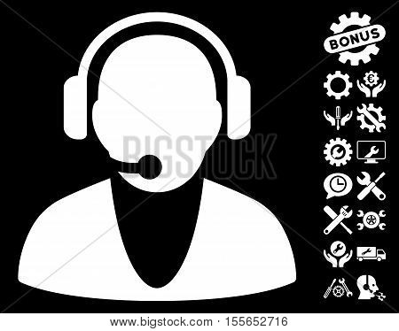 Operator icon with bonus setup tools design elements. Vector illustration style is flat iconic white symbols on black background.