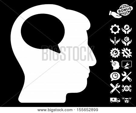 Person Thinking icon with bonus service images. Vector illustration style is flat iconic white symbols on black background.