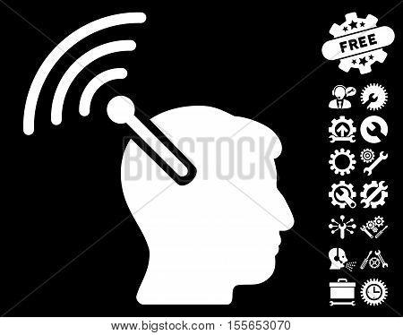 Radio Neural Interface icon with bonus settings graphic icons. Vector illustration style is flat iconic white symbols on black background.