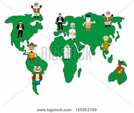 The Card of the world and folk inhabitting land.Vector illustration