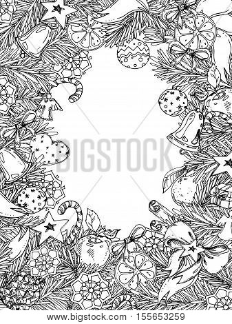 New Year and Christmas vertical frame for coloring book for adult and children. Pattern for coloring book. hand-drawn vector decorative element.