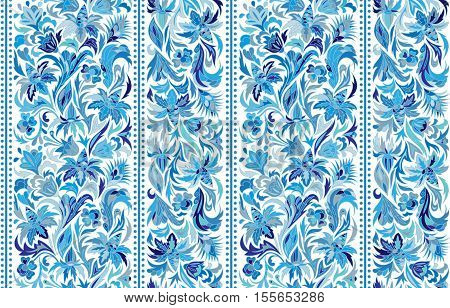 Striped seamless pattern. Floral wallpaper. Colorful ornamental border. Stock vector. Blue on white