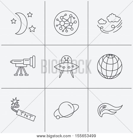 Ufo, planet and telescope icons. World, global network and night linear signs. TNT dynamite, fire flame and wind flat line icons. Linear icons on white background. Vector