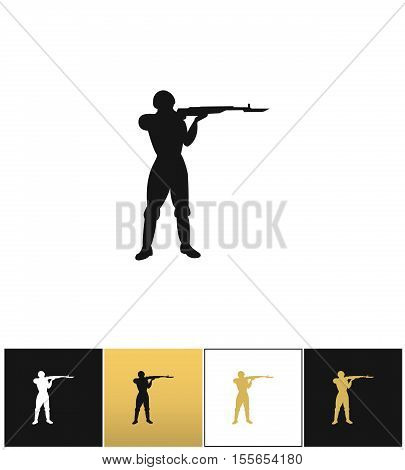 Army soldier silhouette vector icon. Army soldier silhouette pictograph on black, white and gold background