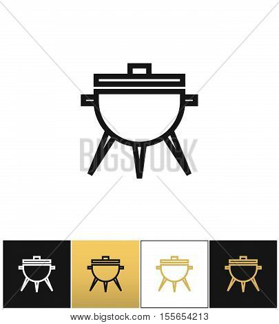 BBQ symbol or meal cooking grill vector icon. BBQ symbol or meal cooking grill pictograph on black, white and gold background