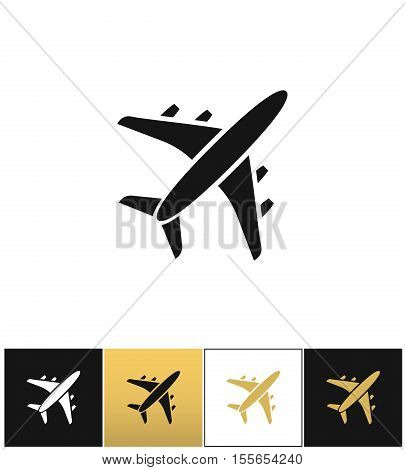Black air plane silhouette vector icon. Black air plane silhouette pictograph on black, white and gold background