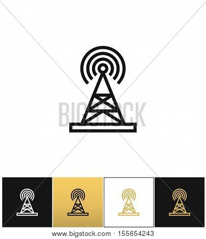 Broadcasting tower or broadcast station vector icon. Broadcasting tower or broadcast station pictograph on black, white and gold background
