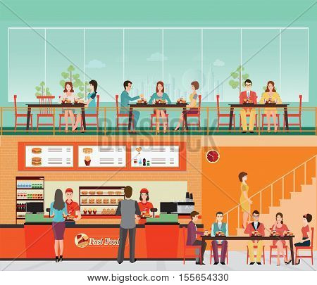 People Buying Fast Food at Fast food restaurant interior with hamburger and beverage food and drink flat design vector illustration.