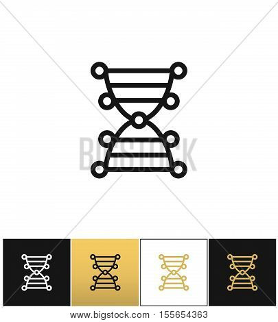DNA genetics chromosome code vector icon. DNA genetics chromosome code pictograph on black, white and gold background