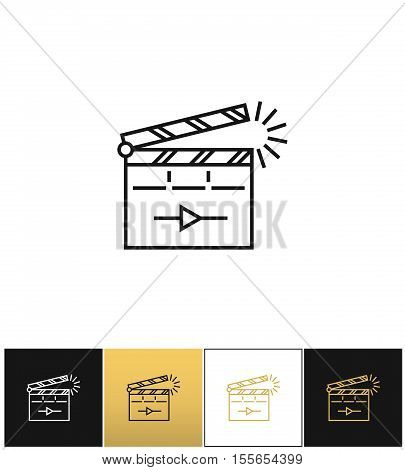 Film clapping clap board or clapperboard vector icon. Film clapping clap board or Clapperboard pictograph on black, white and gold background
