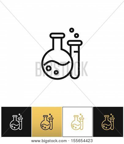 Flask and beaker equipment lab vector icon. Flask and beaker equipment lab pictograph on black, white and gold background