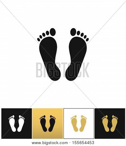 Footprints or human foot prints vector icon. Footprints or human foot prints pictograph on black, white and gold background
