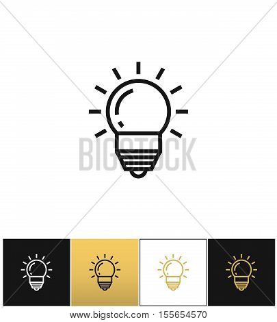 Lightbulb or innovation and idea vector icon. Lightbulb or innovation and idea pictograph on black, white and gold background