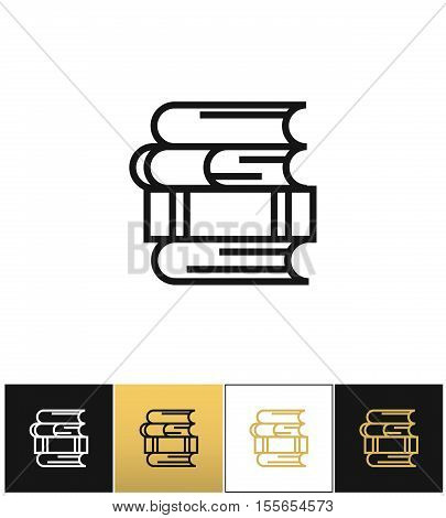 Linear books stack for study and library vector icon. Linear books stack for study and library pictograph on black, white and gold background