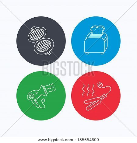 Curling iron, hair-dryer and toaster icons. Waffle-iron linear sign. Linear icons on colored buttons. Flat web symbols. Vector