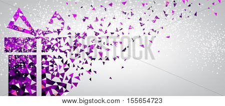 Festive Christmas background with purple gift. Vector illustration.