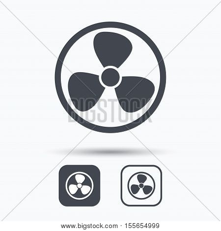 Ventilation icon. Air ventilator or fan symbol. Square buttons with flat web icon on white background. Vector