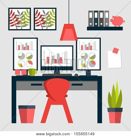 Flat design of trendy home office layout with triple monitors.