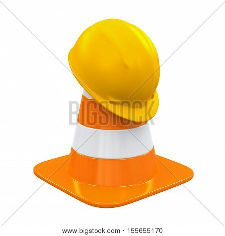 Traffic Cone and Safety Helmet isolated on white background. 3D render