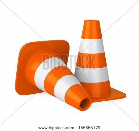 Traffic Cone isolated on white background. 3D render