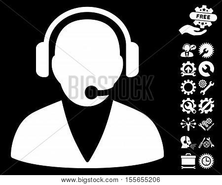 Support Operator pictograph with bonus options pictures. Vector illustration style is flat iconic white symbols on black background.