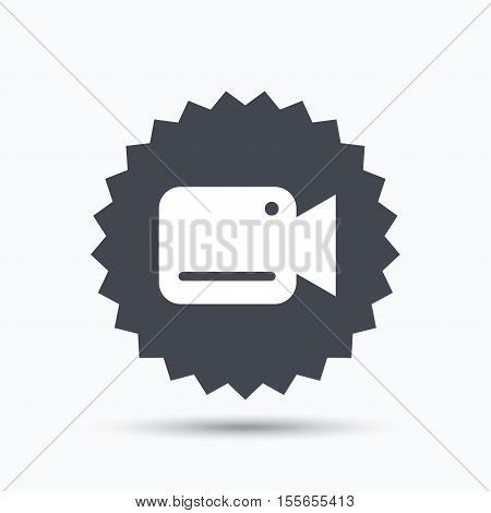 Video camera icon. Film recording cam symbol. Security monitoring. Gray star button with flat web icon. Vector