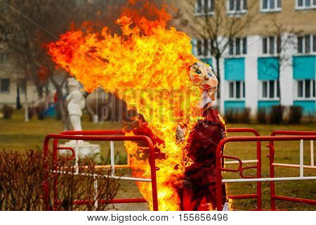 The traditional burning of scarecrow symbolizing the farewell to winter