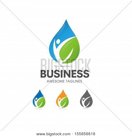 creative Organic Health Food Nutrition and Diet logo vector concept, blue water and green leaf with shape of human figure