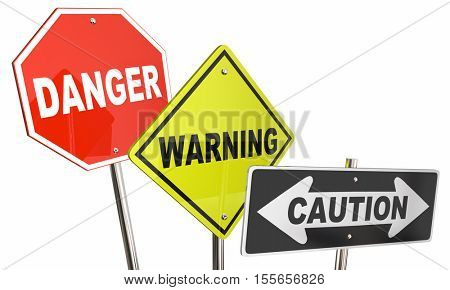 Danger Warning Caution Stop Yield Road Street Signs 3d Illustration