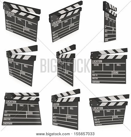 Cinema clapperboard set. 3D render illustration isolated on white. Filmmaking and video production device.